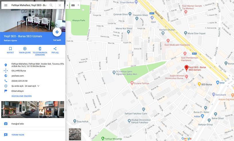 Bursa Google haritalara kayıt hizmeti